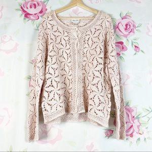 NEW Coldwater Creek Pink Crochet Cardigan 2X
